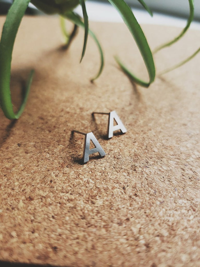 White Feather Designs - Initial Studs - Rhodium
