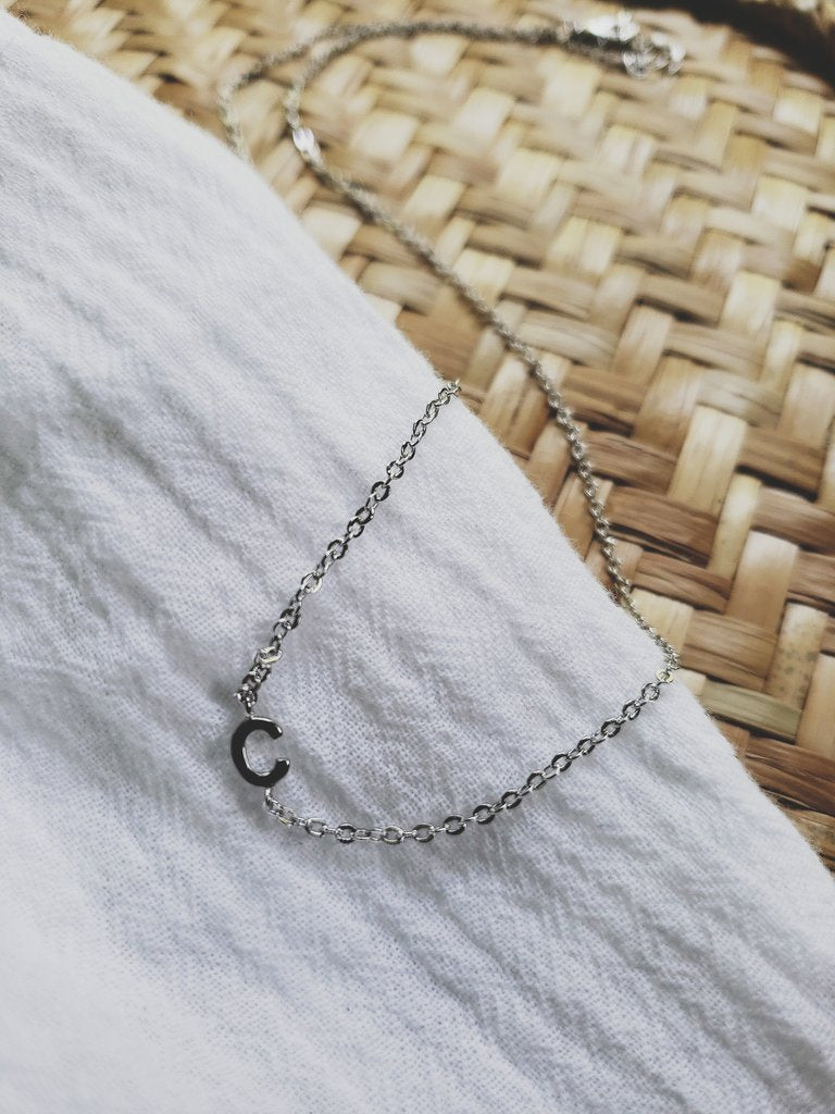 White Feather Designs - Initial Necklace - Rhodium