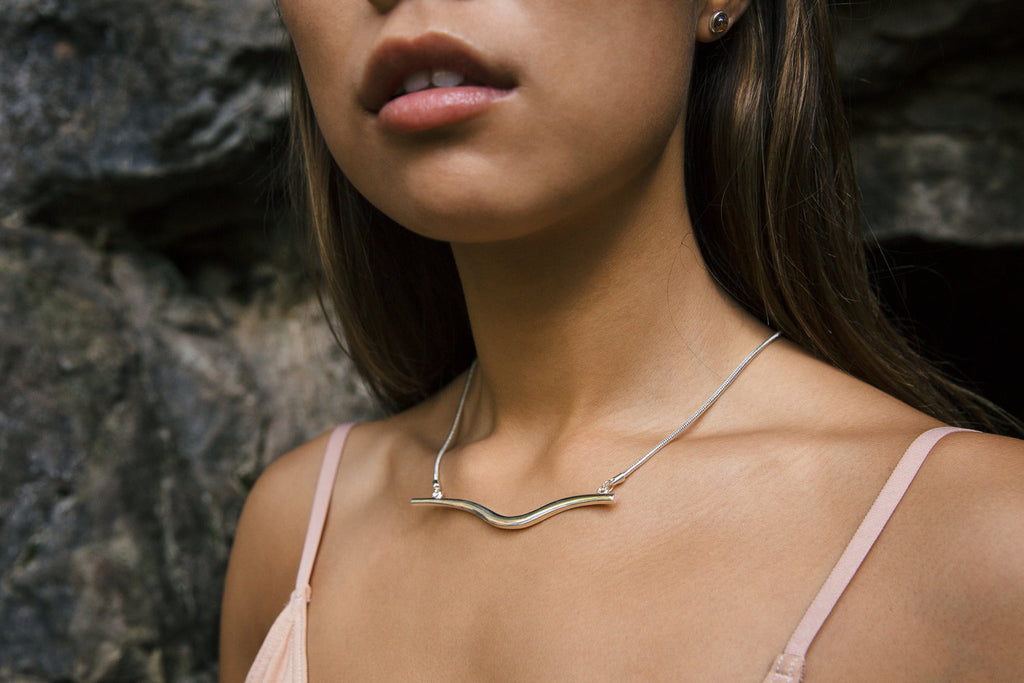 Emily Valentine - Silver Wave Necklace