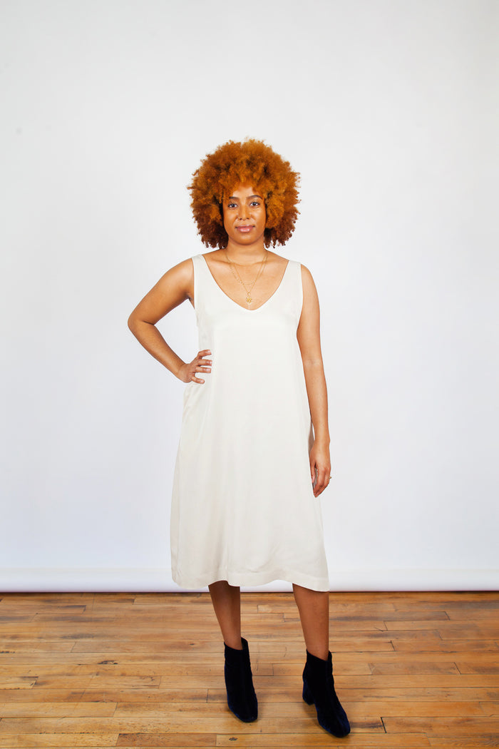 Amanda Moss, Joni Dress, Bone, Ivory, Clothing, Spring Summer 2019, Relaxed Fit Dress, Ivory Dress, Straight Fit Dress, Strapless Dress, Made in Montreal, White Elephant Shop, Boutique, Canadian Fashion