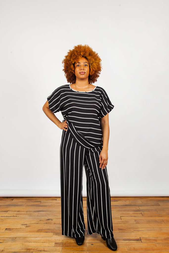 Sara Duke, Jeffery Pants, Black and White Striped Pants, Clothing, Spring Summer 2019, Straight Cut Pants, Lightweight Pants, Made in Toronto, White Elephant Shop, Boutique, Canadian Fashion