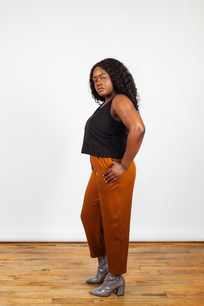 Amanda Moss, Peggy Pants, Spice, Burnt Orange, Clothing, Spring Summer 2019, High Wasted Pant, Cropped Fit Pant, Orange Pants, Trouser, Made in Montreal, White Elephant Shop, Boutique, Canadian Fashion