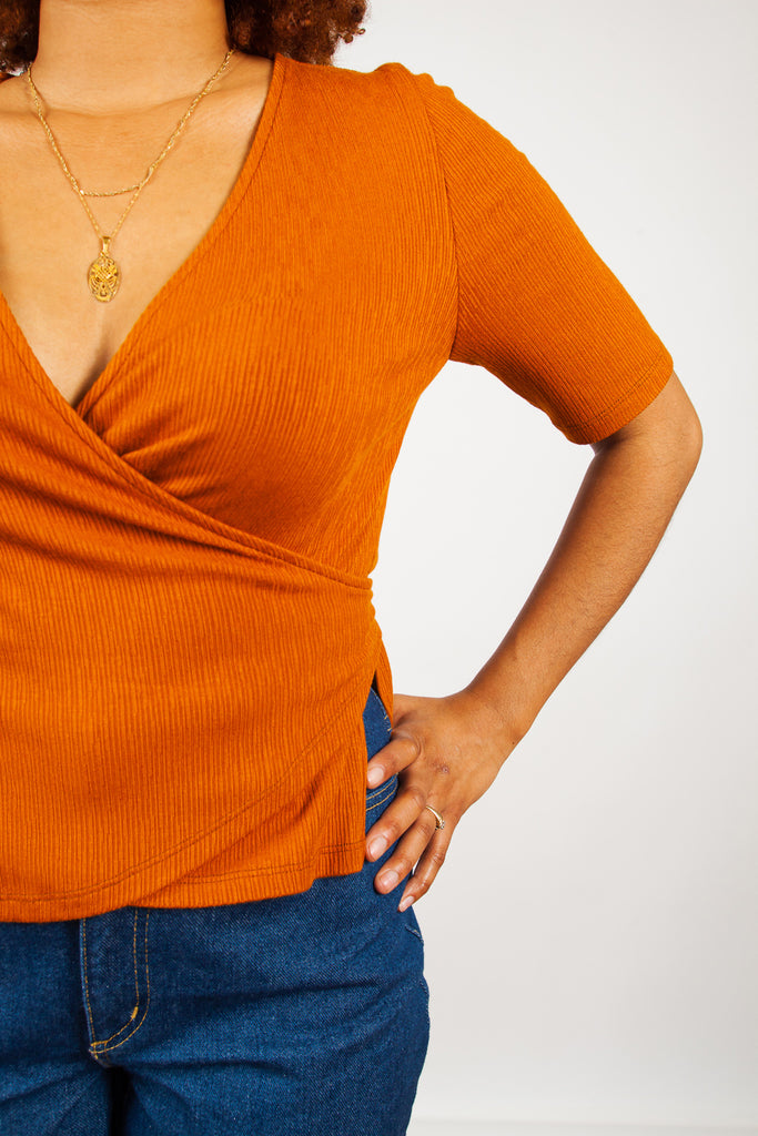 Eve Gravel, Penninsule Top, Amber, Burnt Orange, Clothing, Spring Summer 2019, Wrap Top, V Neck Top, Cropped Length Top, Orange Top, Trouser, Made in Montreal, White Elephant Shop, Boutique, Canadian Fashion