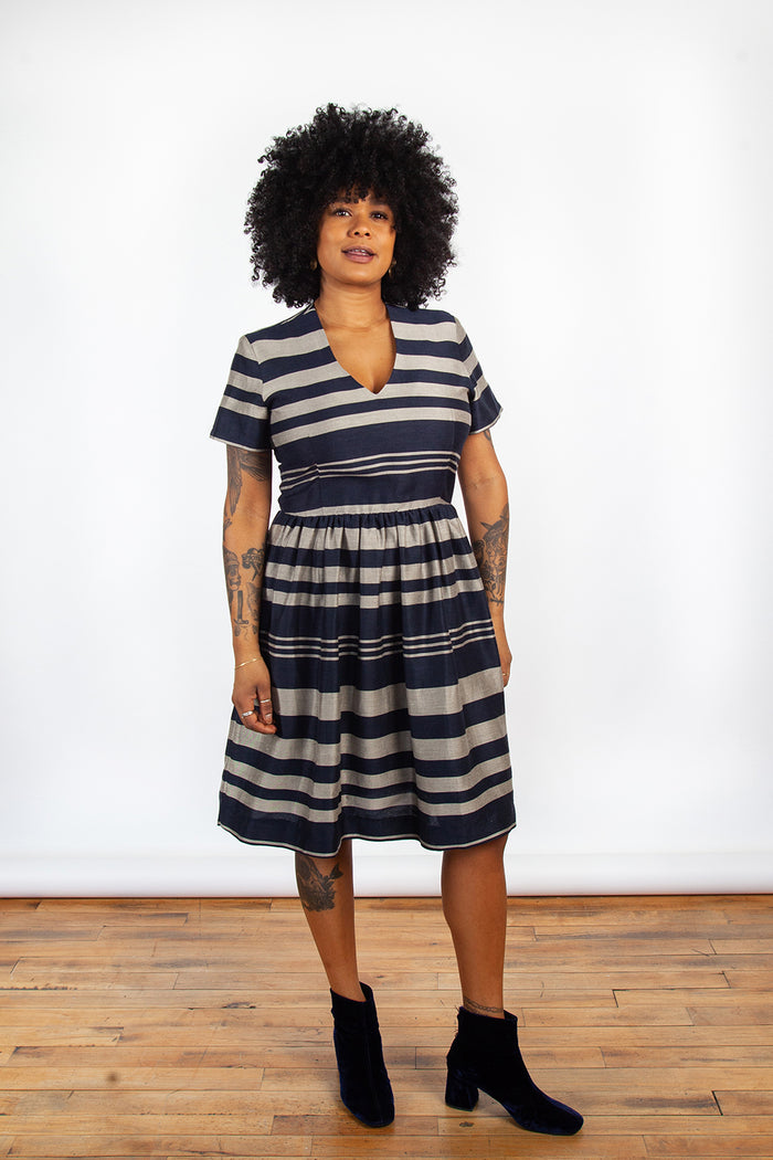Jennifer Glasgow, Gambia Dress, Stripped Dress, Clothing, Spring Summer 2019, Linen Dress, Made in Montreal, White Elephant Shop, Boutique, Canadian Fashion