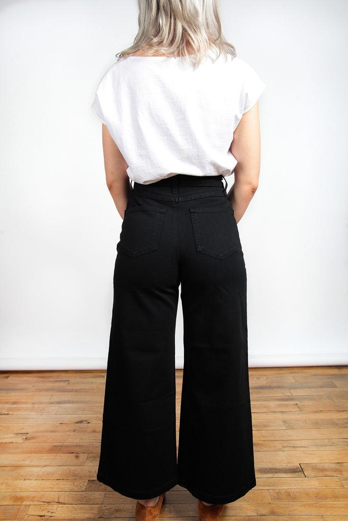 Iris Denim, Edge of Seventeen, Black, Clothing, Fall Winter 2018, Wide Leg Jeans, High Wasted Jeans, Made in Toronto, White Elephant Shop, Boutique, Canadian Fashion