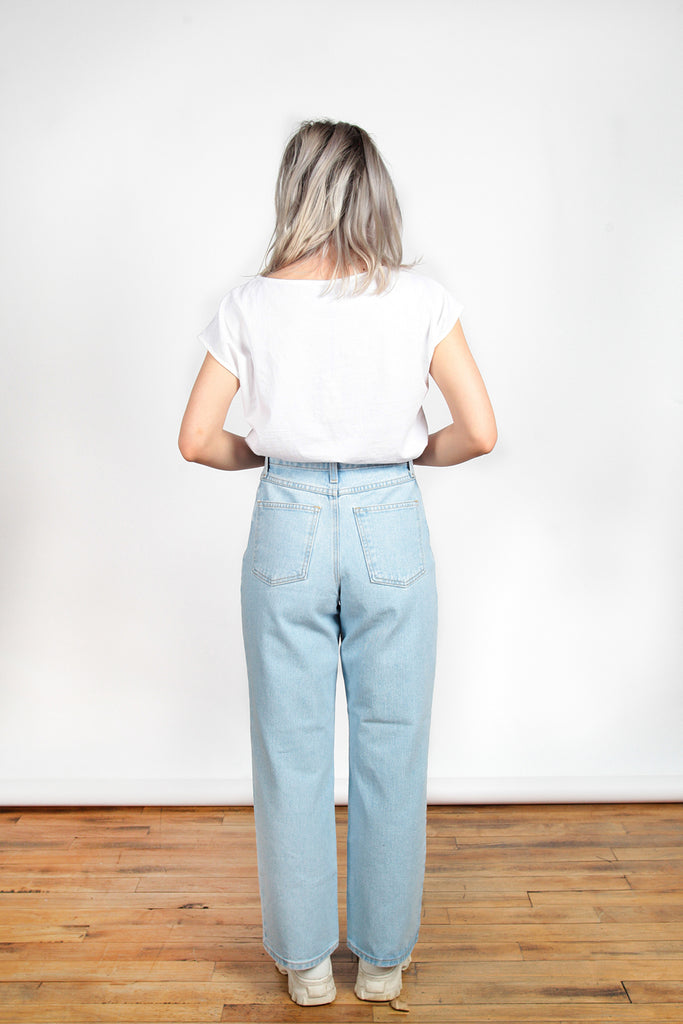 Iris Denim, So Emotional, Extra Light Wash, Clothing, Spring Summer 2019, Wide Leg Jeans, High Wasted Jeans, Cropped Length, Made in Toronto, White Elephant Shop, Boutique, Canadian Fashion