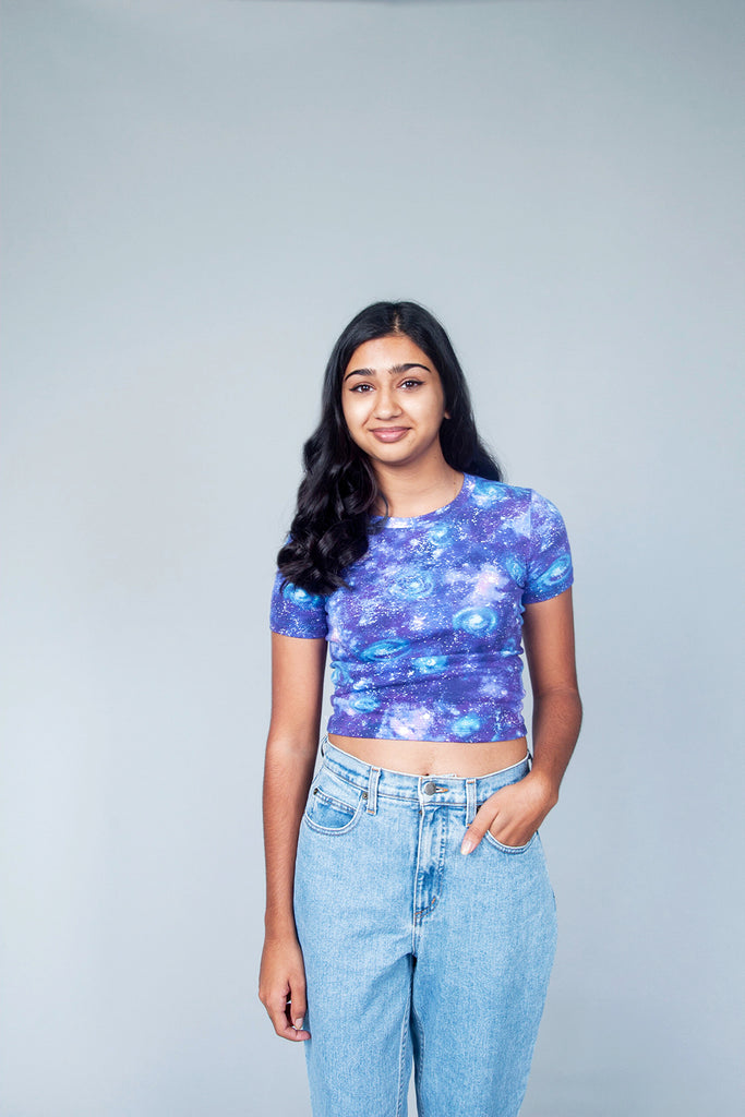 Birds of North America, BoNA, Canestero Top, Clothing, Fall Winter 2018, Nebula Print, Space Print Top, Cotton Top, Cropped T-Shirt, Capped Sleeve Top, Made in Toronto, White Elephant Shop, Boutique, Canadian Fashion