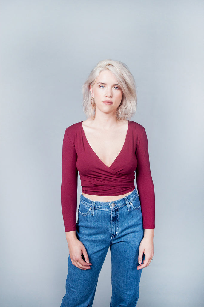 Birds Of North America, BoNA, Crescentchest Top, Wrap Top, Auburn, Clothing, Fall Winter 2018, Made in Toronto, White Elephant Shop, Boutique, Canadian Fashion