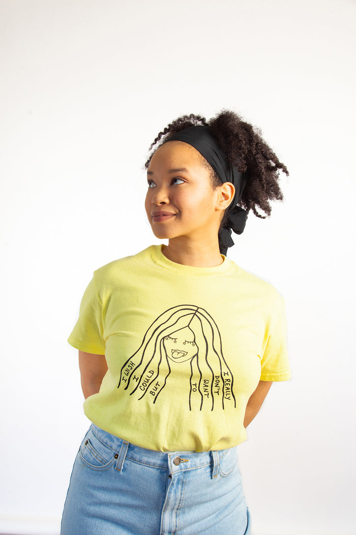 Slow Dog Designs, RSVP Tee, Yellow, I wish I could but I really don't want to, Mood, Clothing, Spring Summer 2019, Made in Toronto, White Elephant Shop, Boutique, Canadian Fashion
