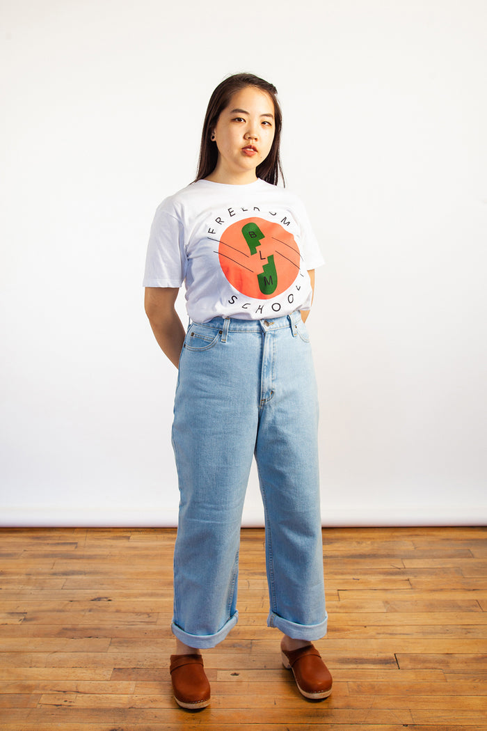 Shaya Ishaq, Freedom School Shirt, BLM, Black Lives Matter, Clothing, Spring Summer 2019, Cotton Tshirt, Made in Toronto, White Elephant Shop, Boutique, Canadian Fashion