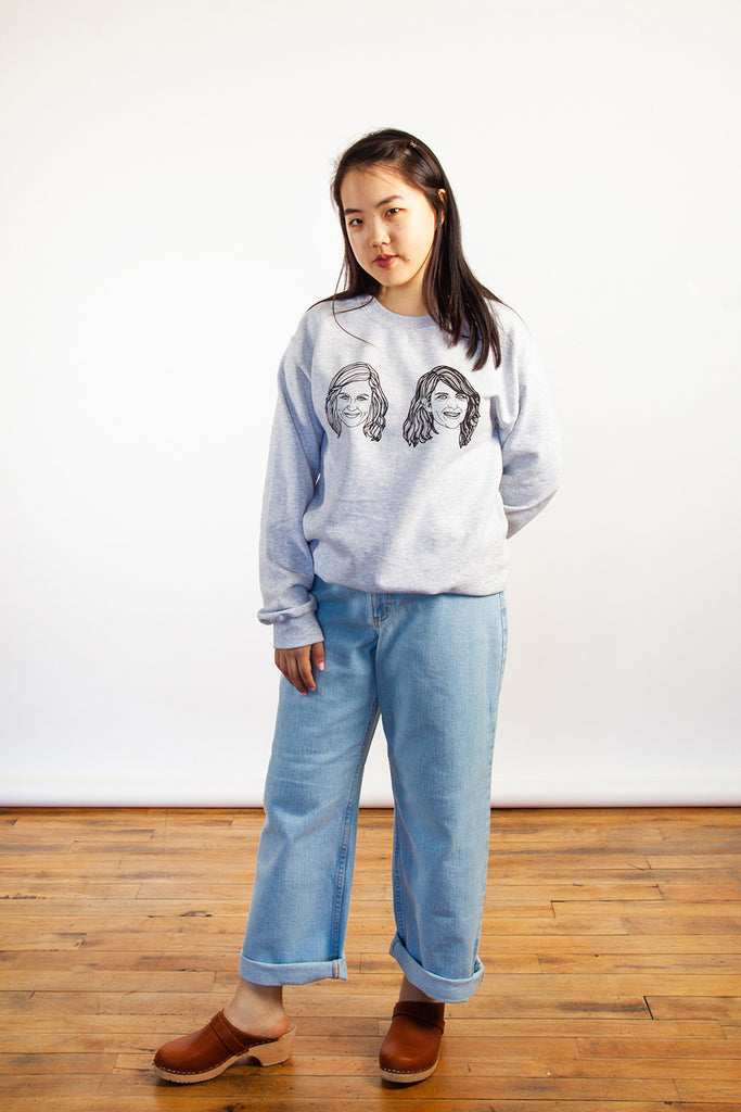Allie Sweeting, Amy and Tina Sweatshirt, Amy Poehler, Tina Fay, Clothing, Spring Summer 2019, Grey Sweatshirt, Cotton Sweater, Made in Toronto, White Elephant Shop, Boutique, Canadian Fashion