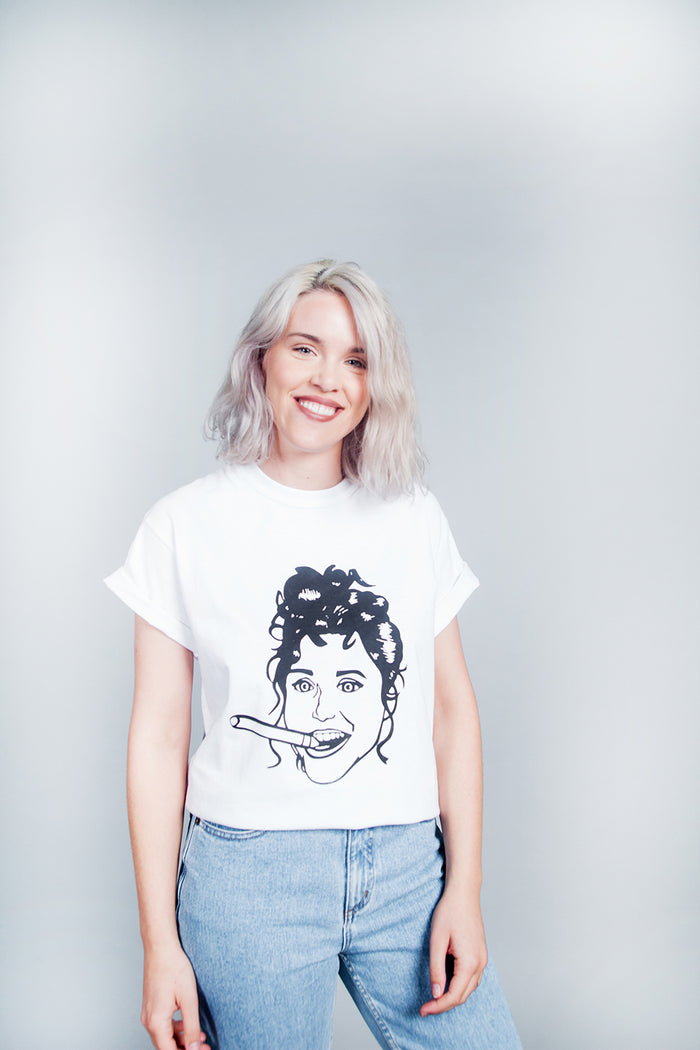 Allie Sweeting, Elaine Tshirt, Elaine Tee, Made in Canada, White Elephant, Graphic Tee, Graphic Tshirt