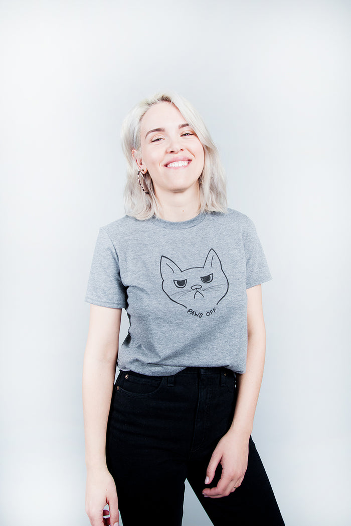 Canadian Made, Made in Canada, Canadian Designer, White Elephant, Slow Dog, Slow Dog Designs, Canadian Illustratration, Screen Printed Tee, Screen Printed Tshirt, Hand Drawn,  Paws Off, Paws Off Tshirt, Paws Off Tee