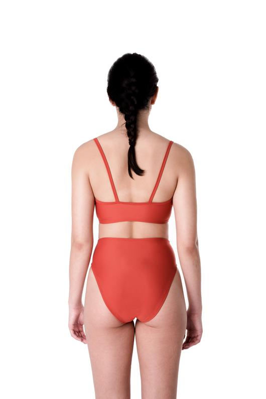 Minnow Bathers, Twist Top, Terracotta, Clothing, Swimwear, Spring Summer 2019, Bathing Suit Top, Bikini Top, Made in Toronto, White Elephant Shop, Boutique, Canadian Fashion