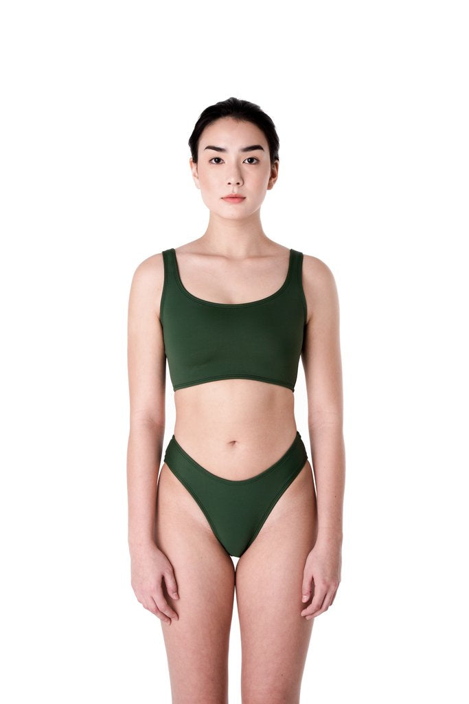 Minnow Bathers, Zip Bottoms, Green, Clothing, Swimwear, Spring Summer 2019, Bathing Suit Bottoms, Bikini Bottoms, Made in Toronto, White Elephant Shop, Boutique, Canadian Fashion