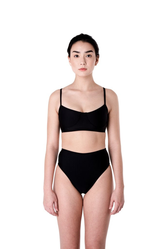 Minnow Bathers, Shell Top, Black, Clothing, Swimwear, Spring Summer 2019, Bathing Suit Top, Bikini Top, Made in Toronto, White Elephant Shop, Boutique, Canadian Fashion