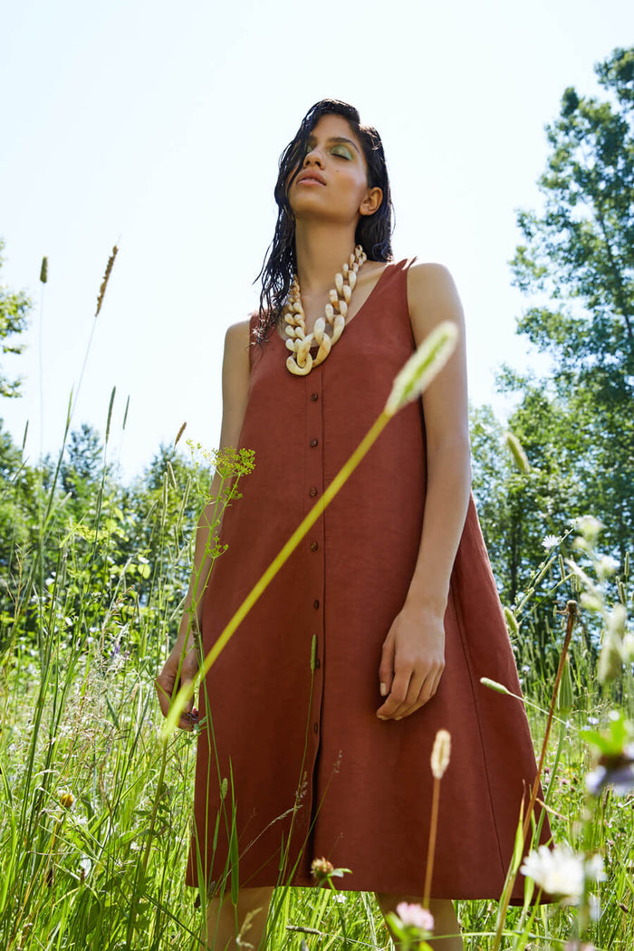 Eve Gravel - Nymphea Dress Mahogany