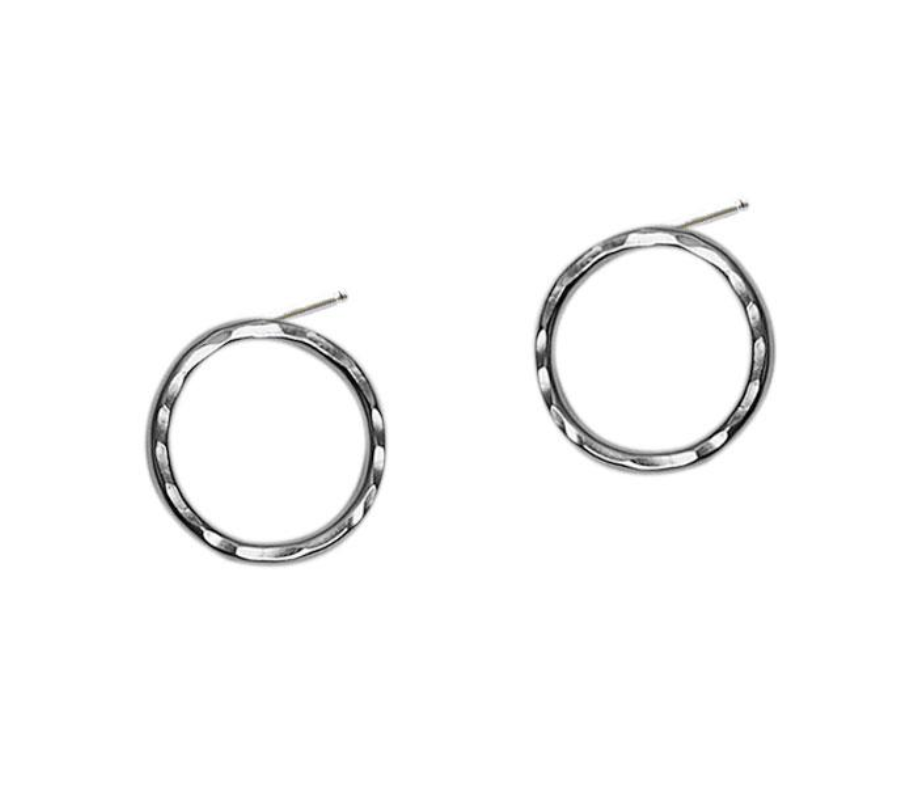 Strut Jewelry - Medium Hammered Circle Studs