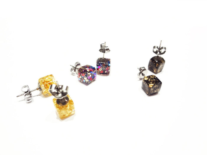 Fancy Pop - Glitter Cube Earrings