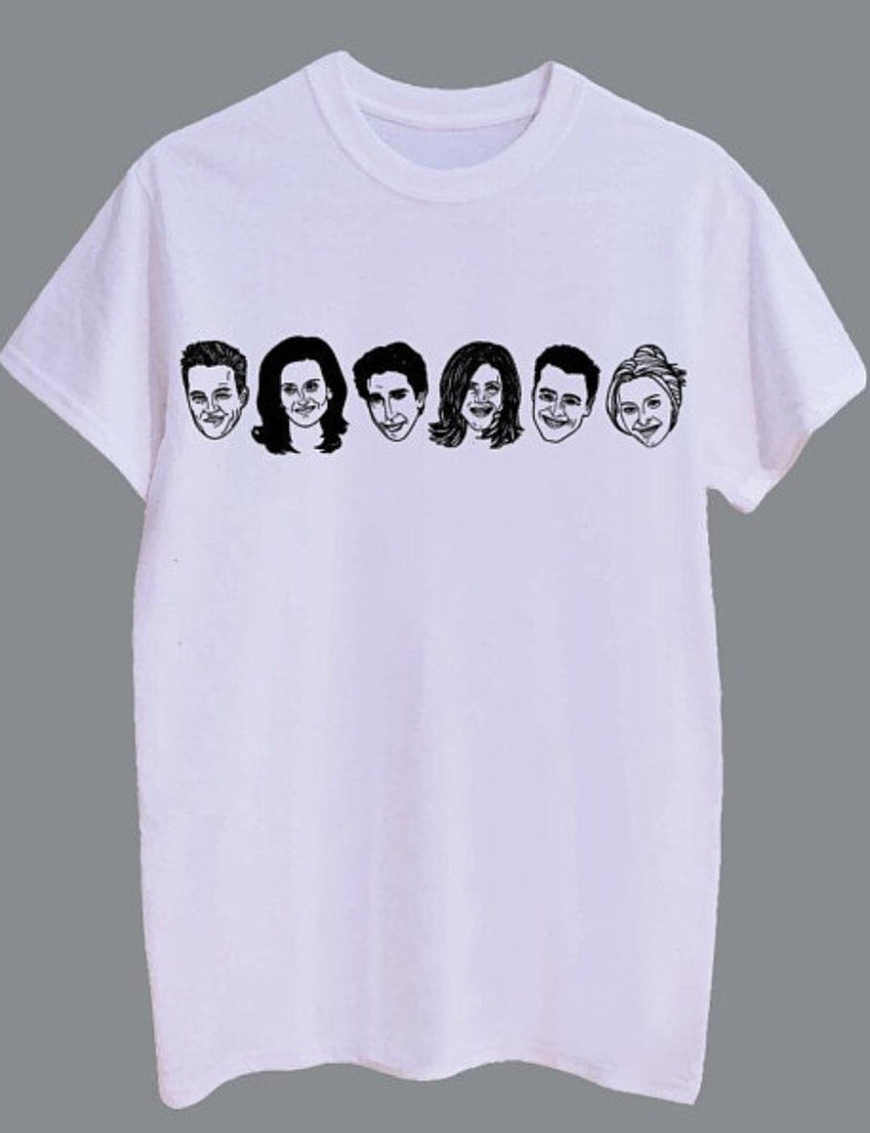 Allie Sweeting, Allie Sweeting Friends Tee, Allie Sweeting Friends Tshirt, Friends Tshirt, Friends Tee, Ross and Rachel Shirt, Friends, Friends TV Show, Friends Clothing,  Canadian Made, Friends Illustration, Made in Canada, Friends Christmas Gift