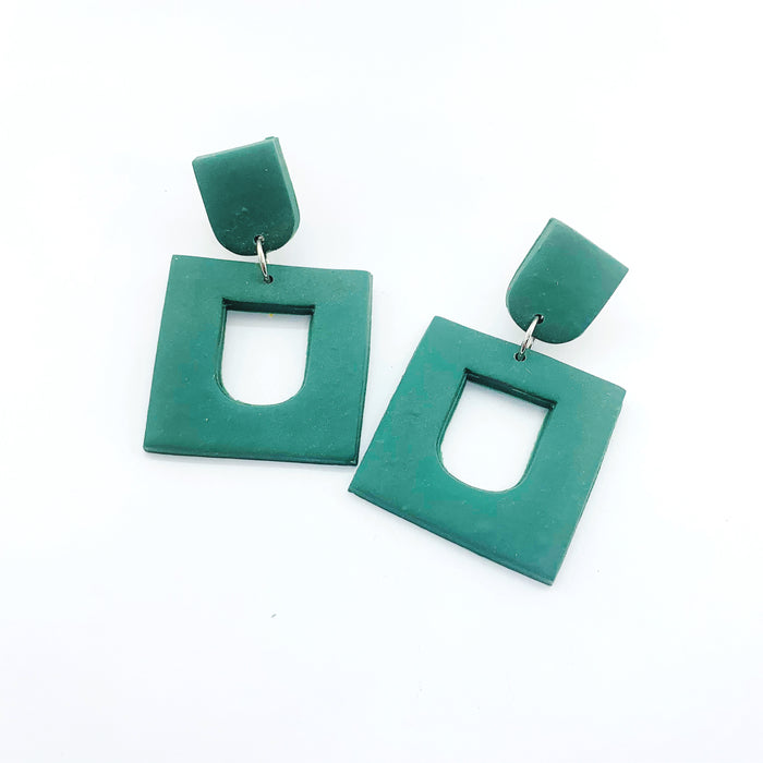 Night Moves Atelier - Small Square Dangle Earrings Forest Green