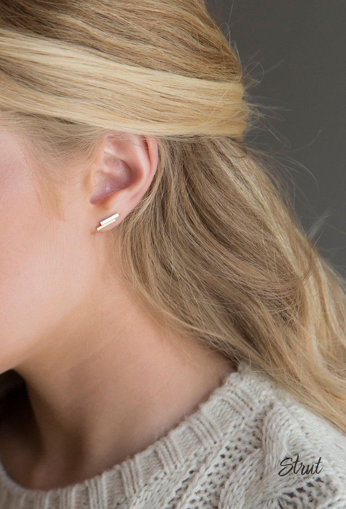 Strut Jewelry – Double Bar Stud Earrings