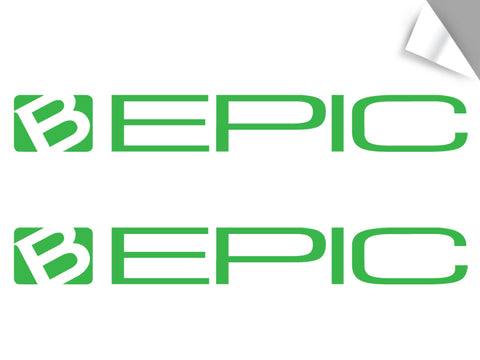 "2-Pack B-Epic Logo Decal - Green (~2.5"" H x ~20 W)"
