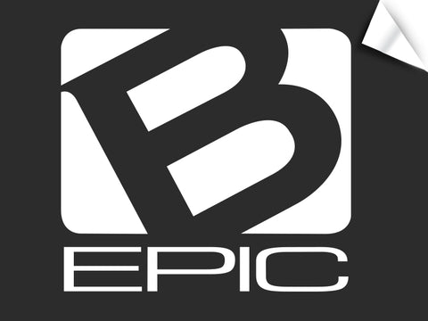 "Large B-Epic Logo Decal - White (~11"" H x ~12 W)"