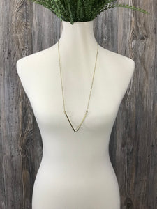 Textured V Long Necklace