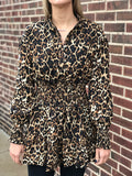 Leopard Print Smocked Button Down Dress