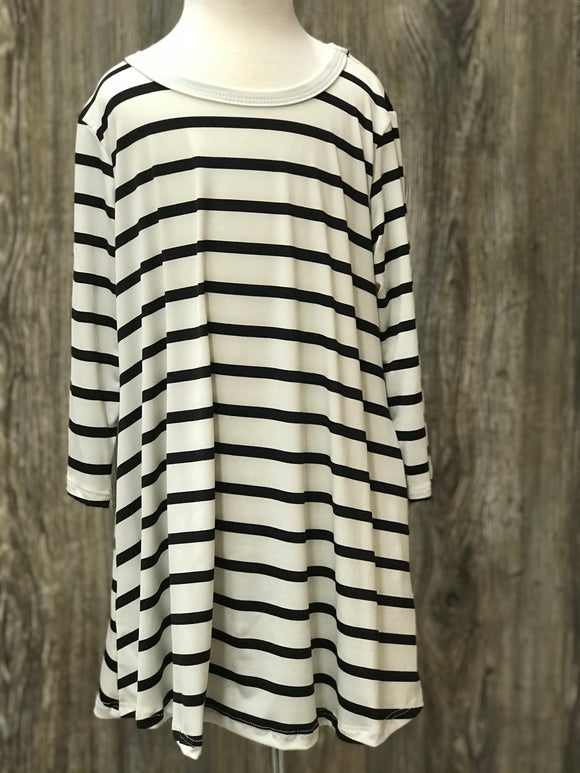 3/4 Sleeve Striped Spandex Swing Dress