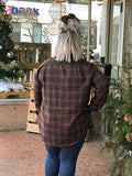 Classic V-Neck Plaid Shirt