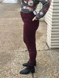 High Rise Button Fly Burgundy Skinny