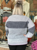 Mock Neck Fuzzy Contrast Sweater