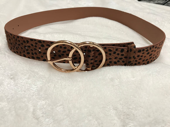 *Cheetah Print Metal Ring Buckle Belt