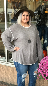 Round Neck Sweater w/Piping Detail