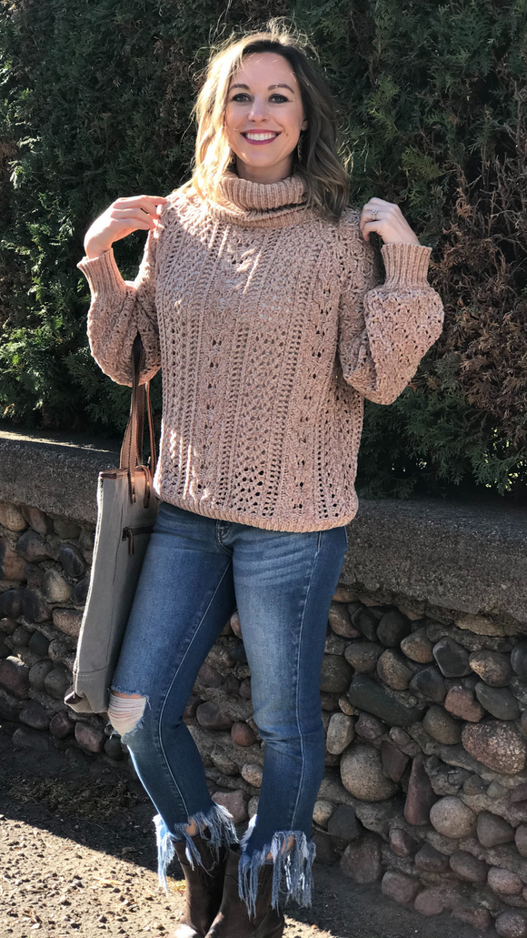Chenille Turtleneck Open Knit Sweater