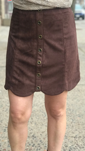 Button Down Scalloped Hem Skirt
