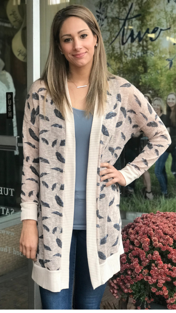Loose Fit Feather Print Cardigan