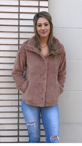 High Neck Sherpa Button Down Jacket