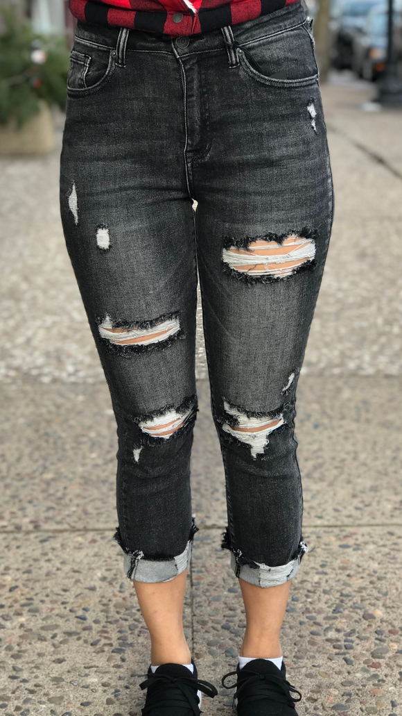 High Waist Cuffed Straight Leg Jeans