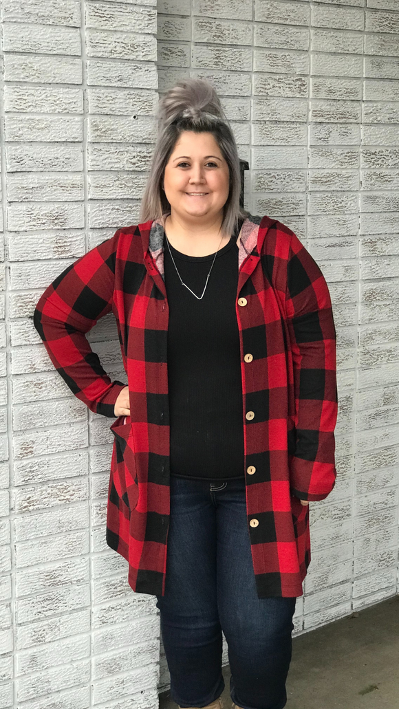 Buffalo Plaid Hooded Cardigan