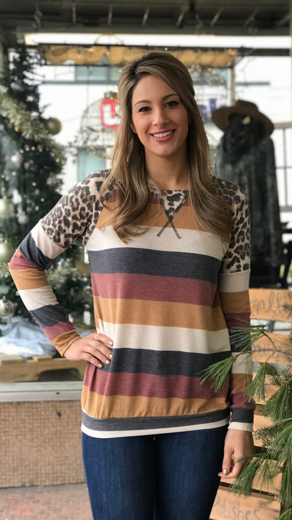 Long Sleeve Striped Leopard Top