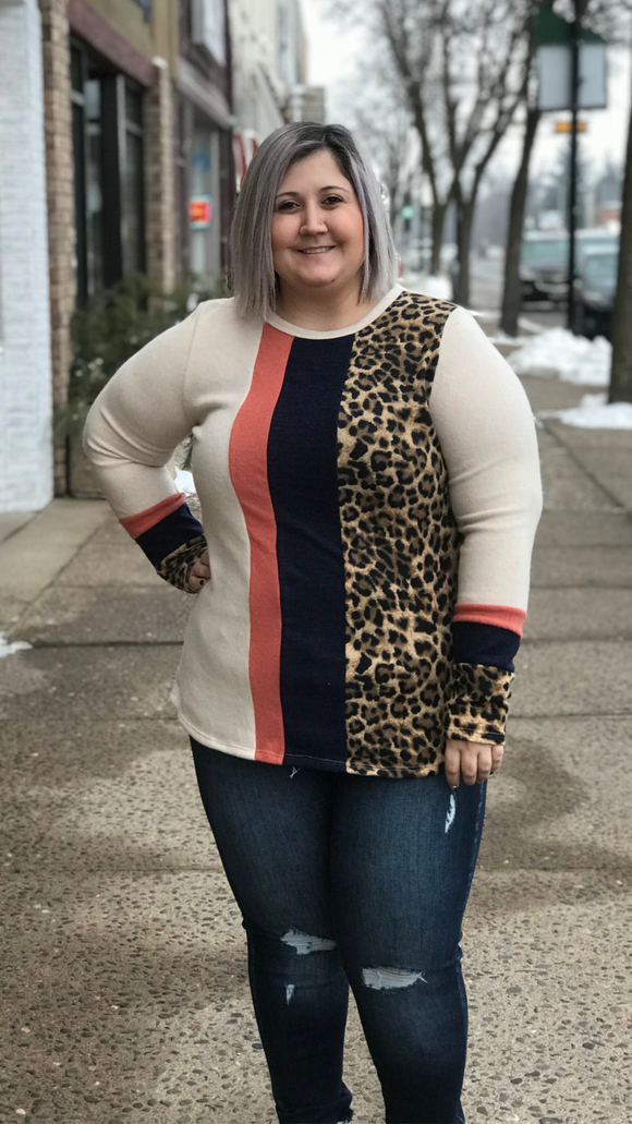 Animal Print Combination Round Long Sleeve Top