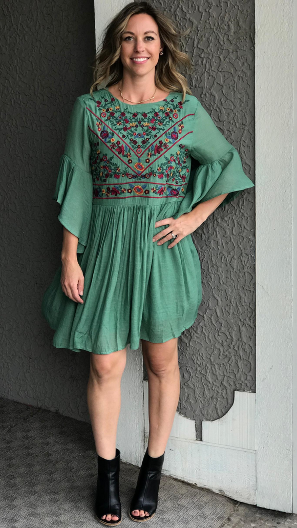 *Floral Embroidered Yoke Dress