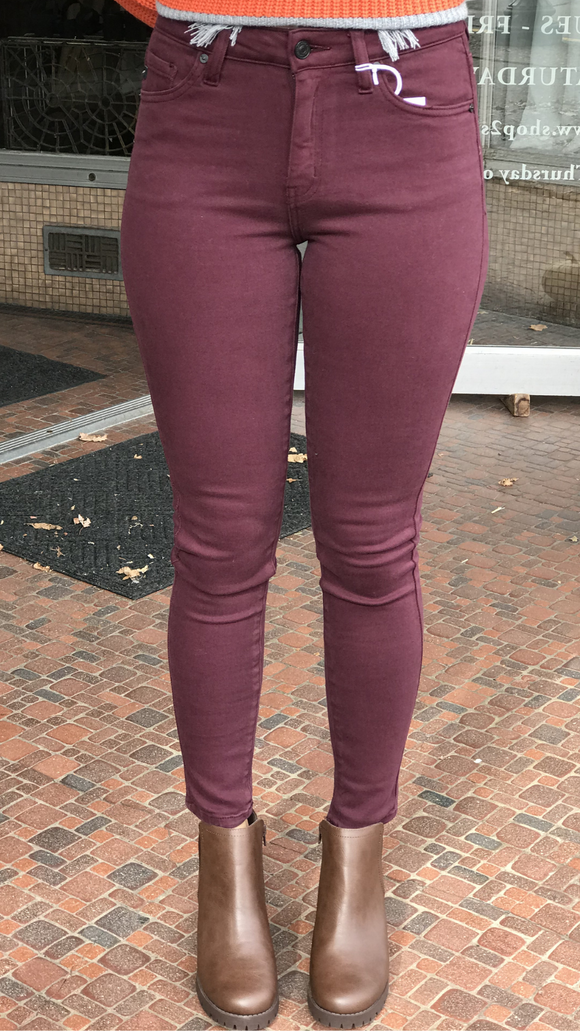 *High Rise Burgundy R&B Skinny