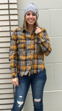 *Frayed Plaid Button Down Top