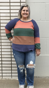 *Long Sleeve Waffle Print & Color Block Top