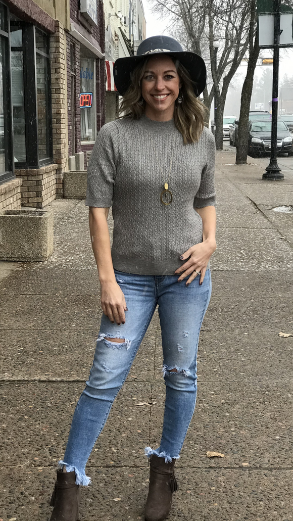 Mini Scalloped Edge Sweater Top