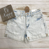 *Kancan High Rise Cuff Hem Shorts